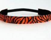 """Tiger Non-Slip Headband 1"""", NonSlip Headband, NoSlip Headband, Running, Team Spirit, Cheerleadng, Workout Headband, Fitness, Spinning, Team"""