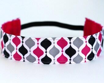 "Pink, Grey & Black Lattice NonSlip Headband 1.5"", NoSlip Headband, Non-Slip Headband, Geometric, Cheerleading, Half Marathon, Running, 5k"