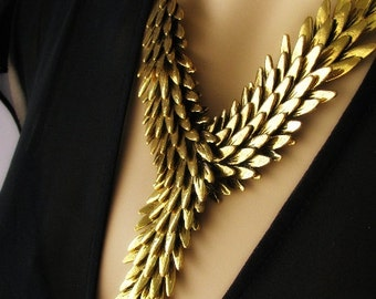 Angel's Embrace Gold Statement Necklace Angel Wing Jewelry