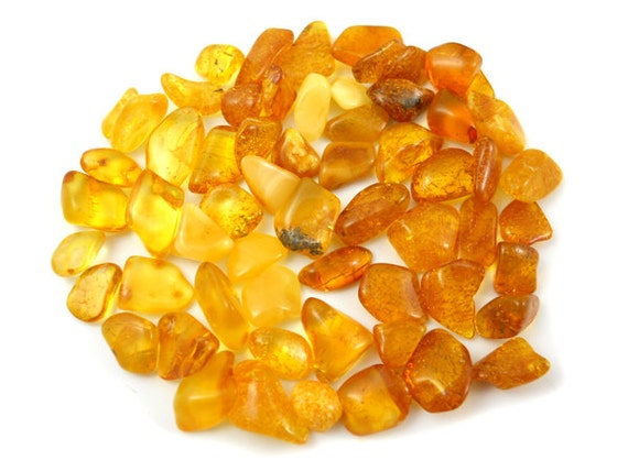Natural Baltic Amber Freeform beads without  hole - 60 pcs - citrine, butter, milky, light cognac - to your own idea