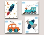 Baby Boy Nursery Decor Children Art Print Baby Nursery Print Car Nursery Rocket Nursery set of 4 Plane Nursery Train Nursert Gray Blue