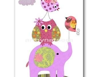Art for Children Nursery Decoration Baby Girl Room Decor Baby Nursery Decor Girl Nursery Print Owl Bird Elephant Decoration Purple Pink