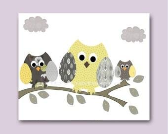 Owl Baby Nursery Decor Art for Children Kids Wall Art Baby Boy Room Kids Room Baby Boy Nursery Prints Print Yellow Gray Owls Decoration