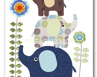Art for Kids Room Kids Wall Art Baby Boy Nursery Room Decor Baby Nursery Print 8x10 Boy Print Elephant Green Blue Navy Artwork Decoration