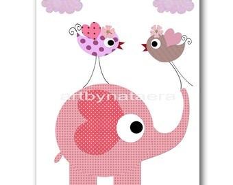 Kids Art for Children Kids Wall Art Baby Girl Room Decor Baby Nursery Decor Baby Girl Nursery Print Birds Elephant Decoration Rose Pink