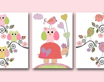 Art for Kids Room Kids Wall Art Baby Girl Nursery Baby Room Decor Baby Nursery Art set of 3 Owl Print Bird Owl Decor Rose Pink Turtle