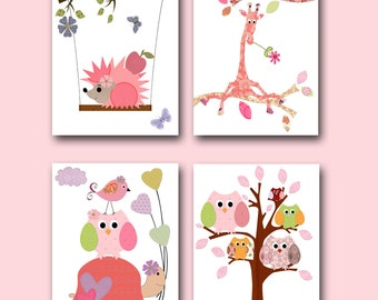 Kids Decor Kids Wall Art Baby Girl Nursery Baby Room Decor Nursery Print Baby Nursery Decor set of 4 Rose Pink Giraffe Turtle Owls Tree