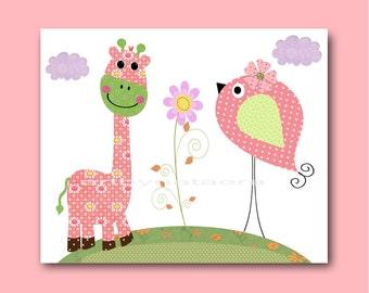 Art for Kids Room Kids Wall Art Baby Girl Nursery Baby Girl Room Decor Baby Nursery print art rose pink giraffe decoration green bird