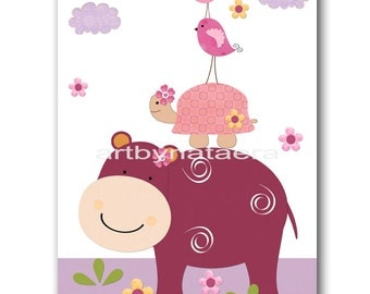 Wall Decor For Kids Art for Kids Room Kids Wall Art Baby Girl Nursery Room Decor Baby Nursery Print Hippopotamus Turtle Bird Violet Rose