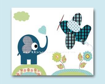 Art for Kids Room Kids Wall Art Baby Boy Nursery Room Decor Baby Boy Decor Baby Artwork print plane elephant blue green
