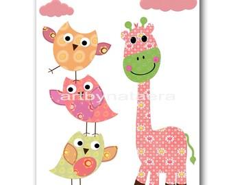 Giraffe Owls Decor Art for Children Kids Wall Art Baby Girl Nursery Art Baby Room Decor Baby Nursery Decor Baby Girl Print Giraffe Rose