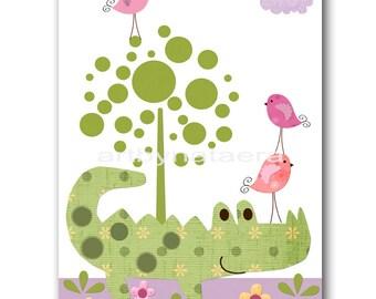 Baby Nursery Decor Art for Children Kids Wall Art Baby Girl Room Decor Baby Girl Nursery print violet purple crocodile bird green