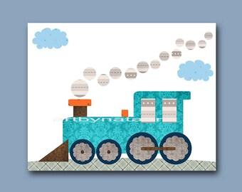 Train Nursery Baby Boy Nursery Decor Baby Nursery Print Children Art Print Nursery Print Boy Art Locomotive Nursery Orange Blue Gray