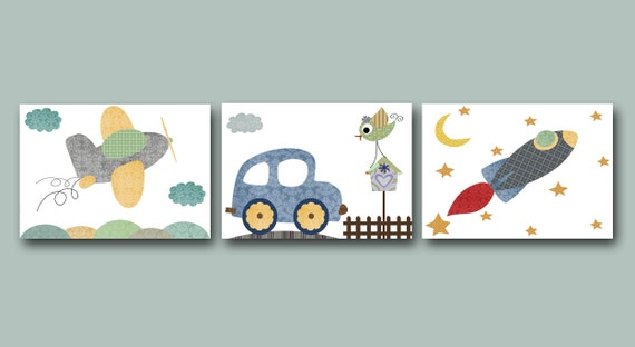 Car Nursery Wall Decor : Car rocket plane kid wall art nursery decor children baby