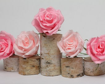 Wedding, wedding decor, wedding favors, wedding cake topper, cake topper, paper flowers, pink paper roses