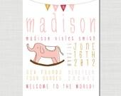 Custom Children's Name Art Illustration - Birth Announcement - 8x10 -Baby girl  - elephant - bunting - customizable