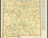 Vintage Map New Mexico from 1937 Original