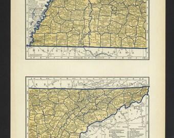 Vintage Map Tennesssee Original 1938
