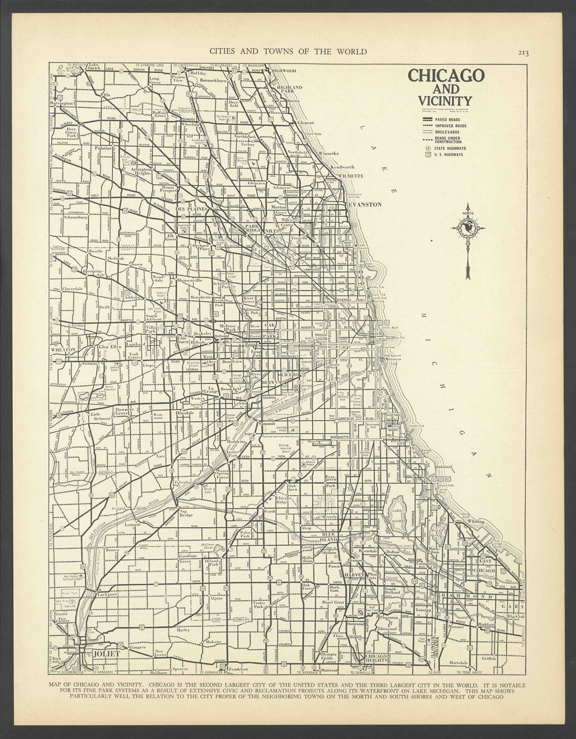 Vintage Map Of Chicago Illinois From 1937 Original