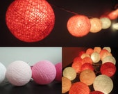 20 Mixed Pink-Magenta Tone Handmade Cotton Balls Fairy String Lights Party Patio Wedding Floor Table or Hanging Gift Home Decor Furniture