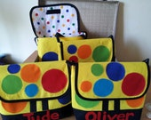 Yellow Spotty Bag just like Mr Tumble hand made in cotton and felt lined velcro fastening