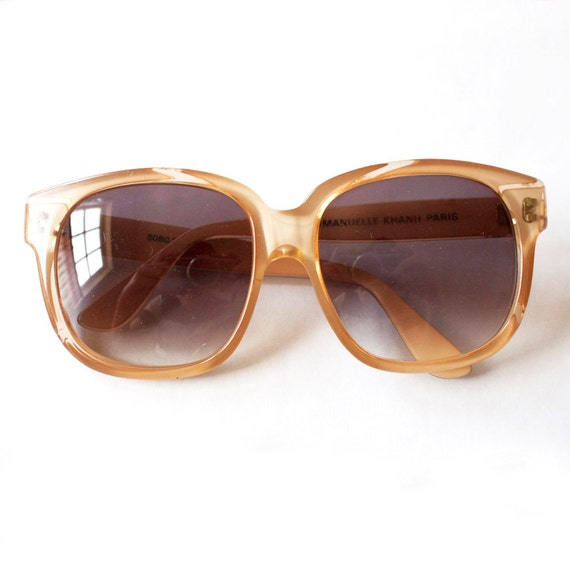 Vintage 70s / 80s Emmanuelle Khanh Oversized Glasses / Sunglasses, EK Paris, Hand Made in France, Transparent Cream, Boho / Rich Hippie