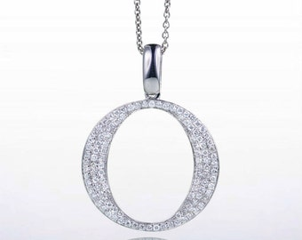 "18 Karat White Gold Diamond Initial ""O"" Pendant Necklace"