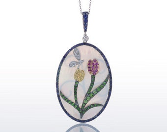 18 Karat White Gold Tulip Mother of Pearl Sapphire Butterfly Unique One of a Kind Necklace Pendant