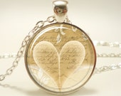 Heart Necklace, Romantic Book Lover Pendant, Jewelry Gift Idea (0780S1IN)