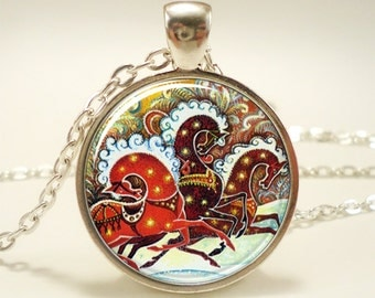 Christmas Necklace, Horse Jewelry, Russian Art Pendant (1251S1IN)
