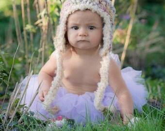 Baby Fuzzy Earflap Hat with Pom Pom in Cream Pink Crochet