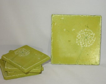 Chartruese coaster and trivet set with dandelion