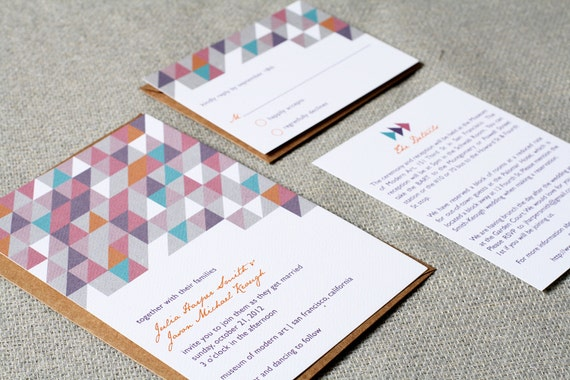 Wedding Invitations Modern Geometric
