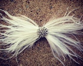 White ostrich feather bridal headpiece, feather and crystal headpiece, white feather bridal clip, feather headpiece, feather bridal bow