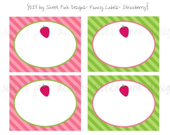 Sweet Cake Strawberry Party- Fancy Food Labels