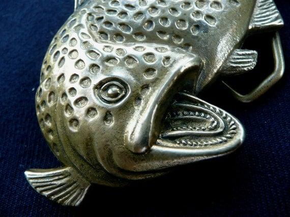 Vintage Buckle - Fish Belt Buckle - Brass Fish Buckle - Fishermens Belt Buckle - Salmon - Fishing - Tackle