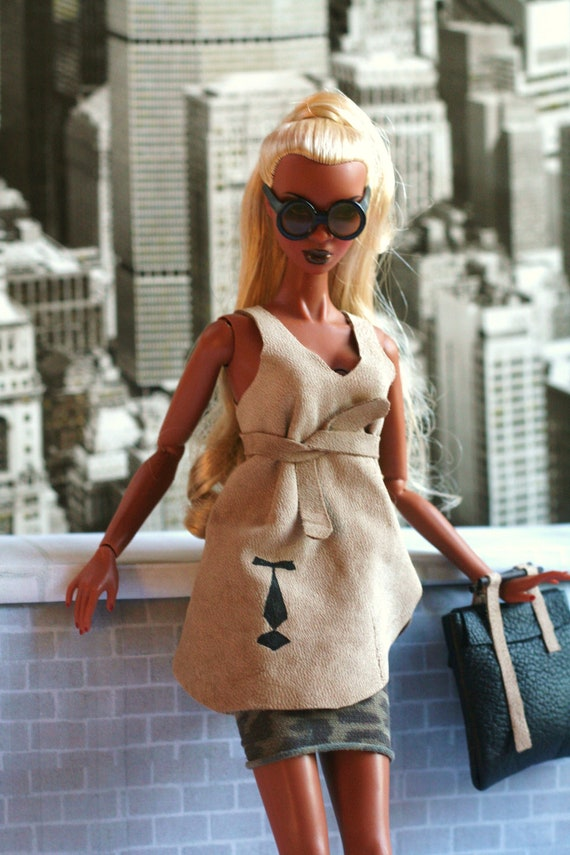 fashion royalty barbie leather top, leather shoes and bag,URBAN NOMADS