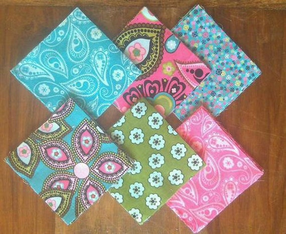 36 pre-cut SQUARES for QUILTING --paisley & corduroy--