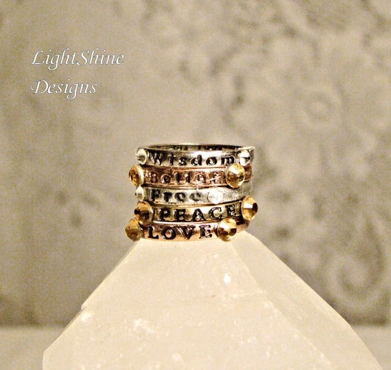 Inspiring Stackable Jeweled Bronze and Antiqued Word Stamped Ring Set