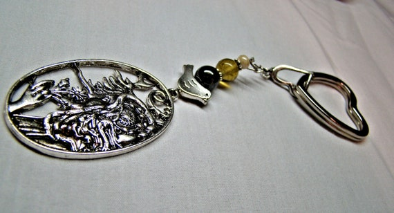 Beautiful Unique Strong Jeweled Windy Woman Keychain featuring Hemanite and Cats Eye beads with a Love Dove on Stainless Heart Keychain