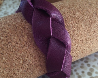 Leather braided bracelet purple, plum leather