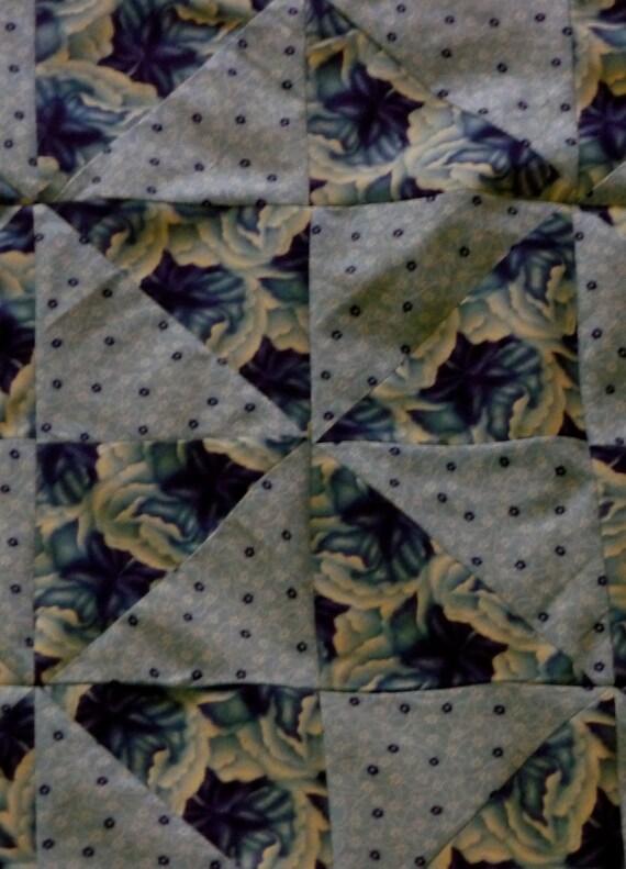 """Blue PINWHEEL Starter Cut up Quilt Top Only Cotton Lap quilt  35"""" X 52"""""""