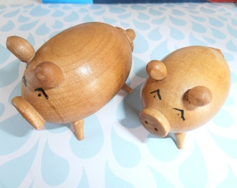 Mid century Wooden Pigs Salt and Pepper Shakers