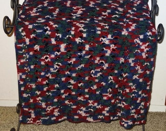 Hand Crocheted Afghan Pretty Open Work Style