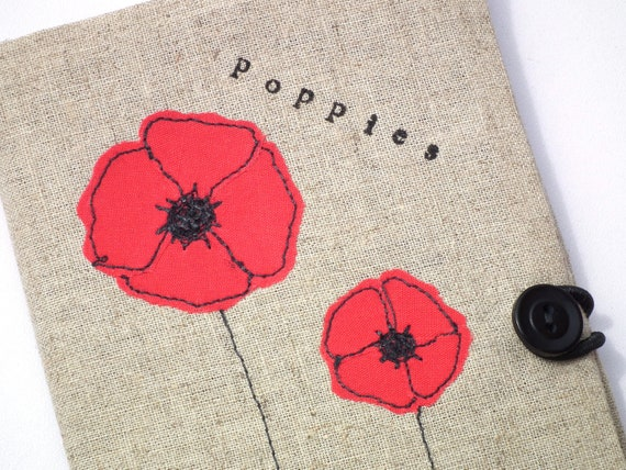 Fabric covered Moleskine notebook / journal with poppies applique