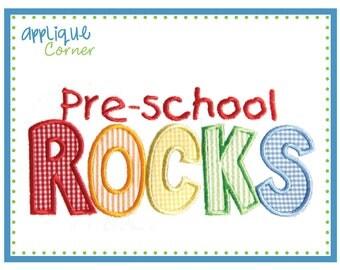 657 Preschool ROCKS applique design digital for embroidery machine by Applique Corner