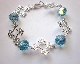 Silver Link Bracelet, Birthstone Bracelet, Crystal Ball Bracelet, Summer Jewelry, Aquamarine Jewelry