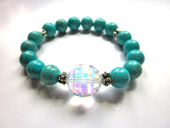 Magnesite Bracelet, Turquoise Jewelry, Ball Bracelet, Spring Jewelry, Beaded Bracelet