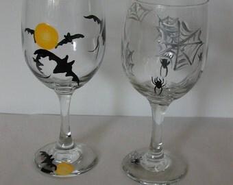 Four Handpainted Halloween Wine Glasses