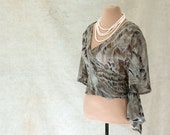 Silk Chiffon Wrap Blouse, Cropped, Elbow Length Sleeves, Size S or M - SALE